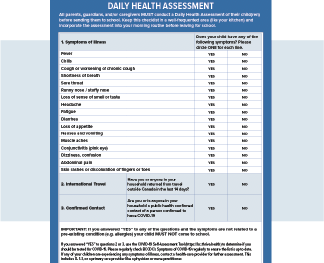 Daily Health Assessment Checklist